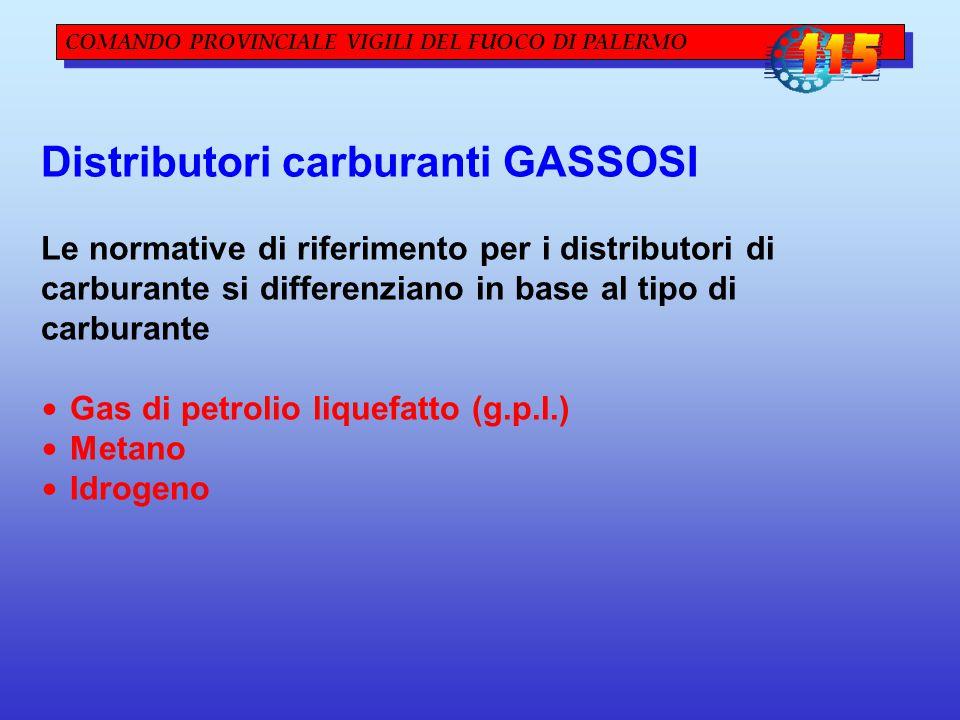 Distributori carburanti GASSOSI Le normative di riferimento per i distributori di carburante si differenziano in base al tipo di carburante Gas di petrolio liquefatto (g.p.l.) Metano Idrogeno