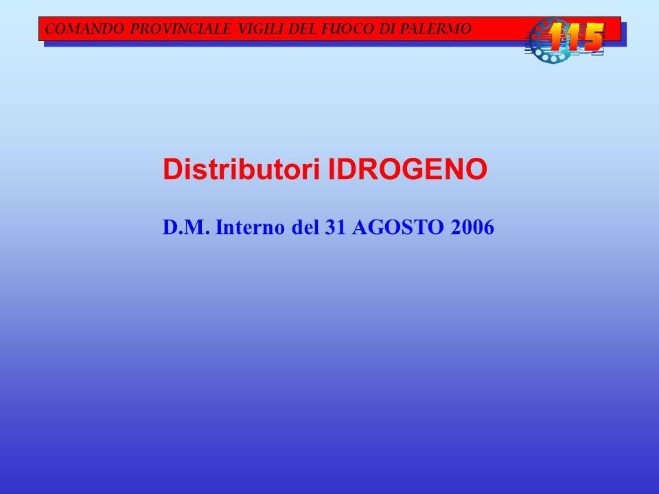 COMANDO PROVINCIALE VIGILI DEL FUOCO DI PALERMO Distributori IDROGENO D.M. Interno del 31 AGOSTO 2006