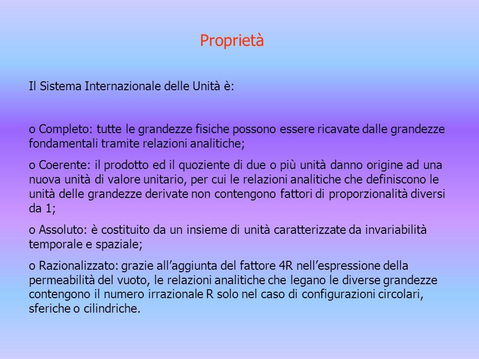 Proprietà Il Sistema Internazionale delle Unità è: o Completo: tutte le grandezze fisiche possono essere ricavate dalle grandezze fondamentali tramite