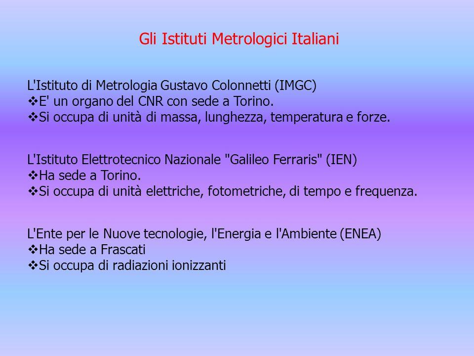 Gli Istituti Metrologici Italiani L'Istituto di Metrologia Gustavo Colonnetti (IMGC)  E' un organo del CNR con sede a Torino.  Si occupa di unità di