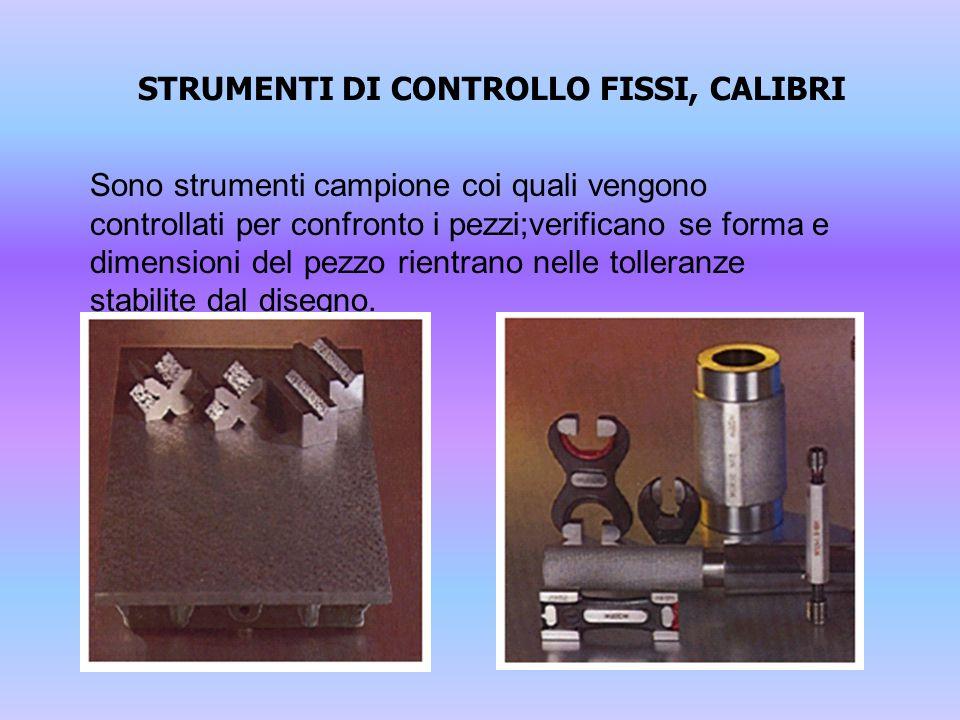 STRUMENTI DI CONTROLLO FISSI, CALIBRI Sono strumenti campione coi quali vengono controllati per confronto i pezzi;verificano se forma e dimensioni del