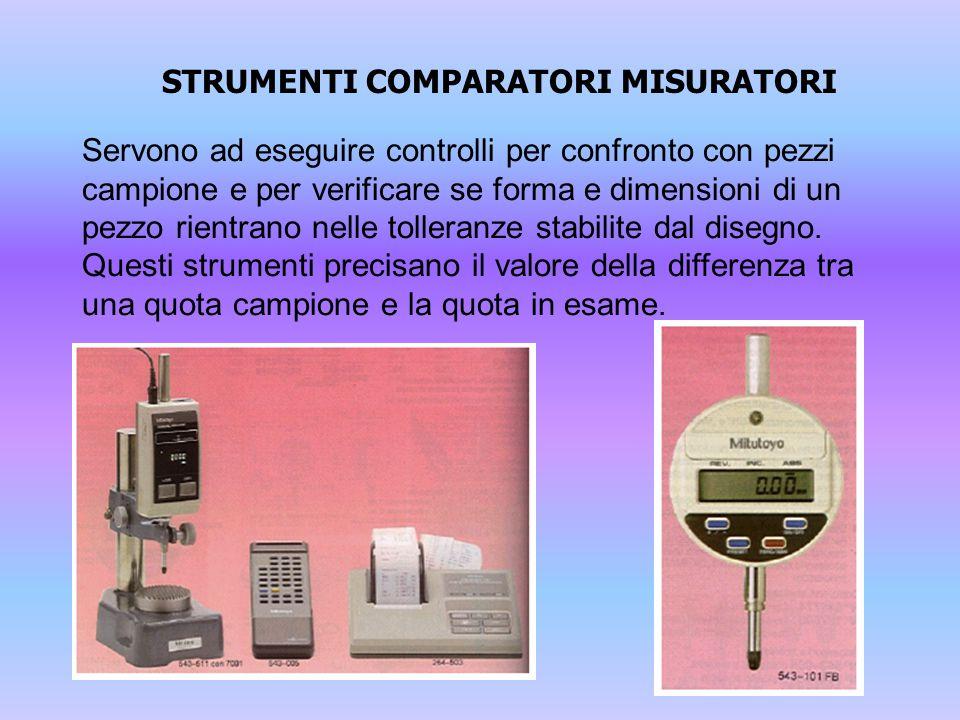 STRUMENTI COMPARATORI MISURATORI Servono ad eseguire controlli per confronto con pezzi campione e per verificare se forma e dimensioni di un pezzo rie
