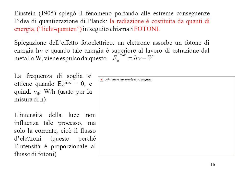 16 Einstein (1905) spiegò il fenomeno portando alle estreme conseguenze l'idea di quantizzazione di Planck: la radiazione è costituita da quanti di energia, ( licht-quanten ) in seguito chiamati FOTONI.