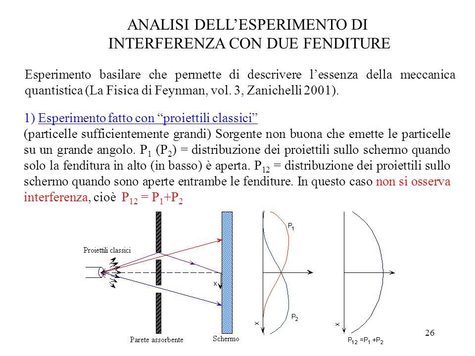 26 ANALISI DELL'ESPERIMENTO DI INTERFERENZA CON DUE FENDITURE Esperimento basilare che permette di descrivere l'essenza della meccanica quantistica (La Fisica di Feynman, vol.