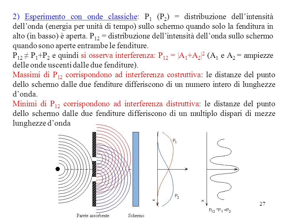 27 2) Esperimento con onde classiche: P 1 (P 2 ) = distribuzione dell'intensità dell'onda (energia per unità di tempo) sullo schermo quando solo la fenditura in alto (in basso) è aperta.