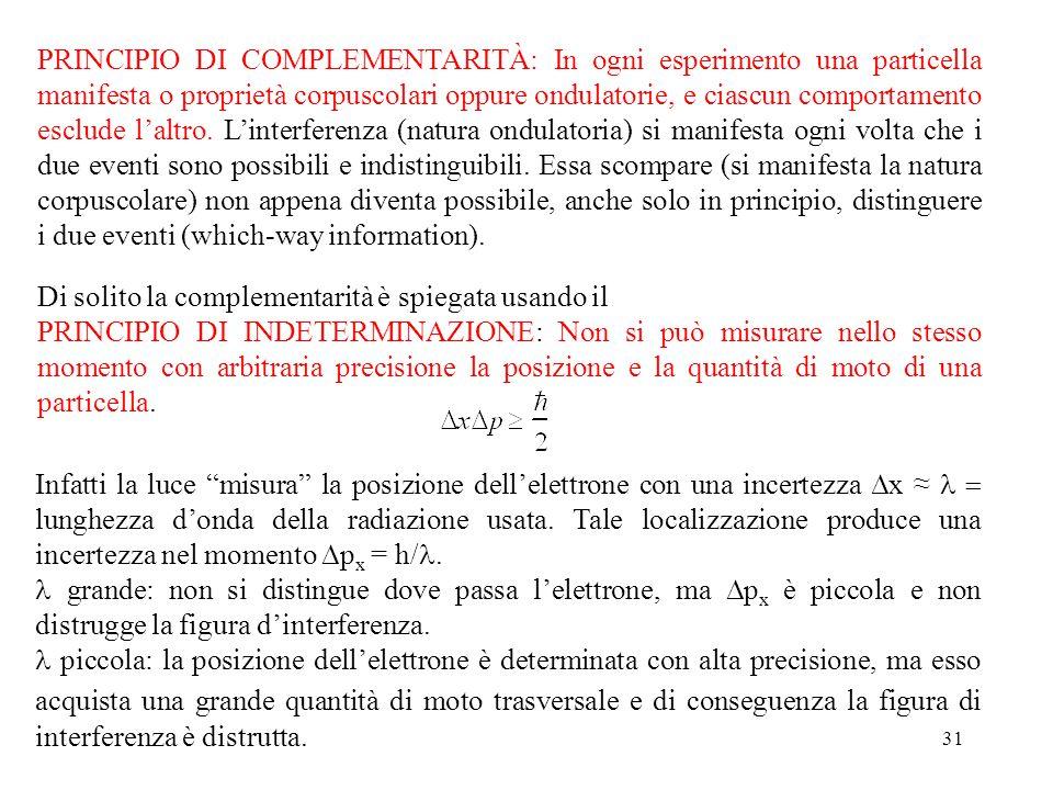 31 PRINCIPIO DI COMPLEMENTARITÀ: In ogni esperimento una particella manifesta o proprietà corpuscolari oppure ondulatorie, e ciascun comportamento esclude l'altro.