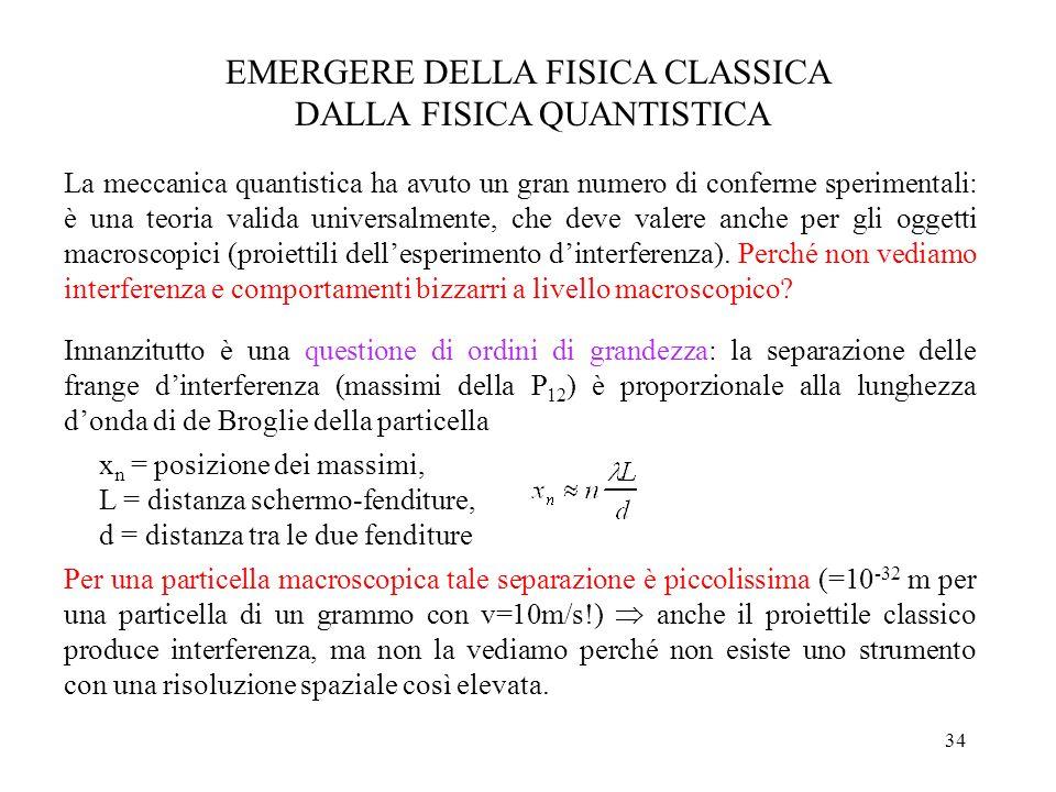 34 EMERGERE DELLA FISICA CLASSICA DALLA FISICA QUANTISTICA La meccanica quantistica ha avuto un gran numero di conferme sperimentali: è una teoria valida universalmente, che deve valere anche per gli oggetti macroscopici (proiettili dell'esperimento d'interferenza).