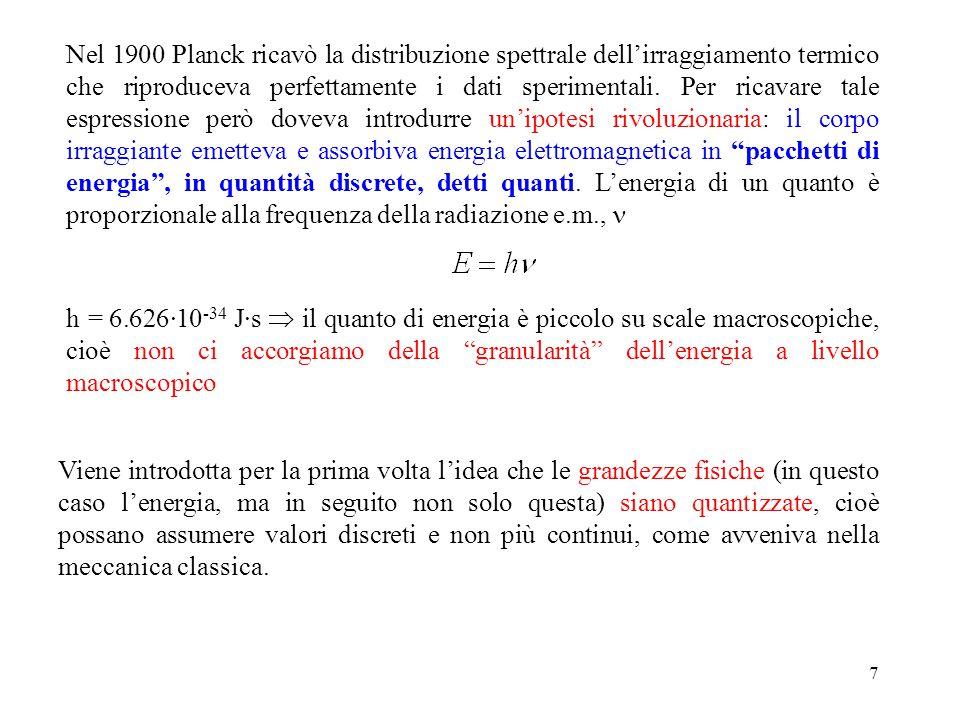 7 Nel 1900 Planck ricavò la distribuzione spettrale dell'irraggiamento termico che riproduceva perfettamente i dati sperimentali. Per ricavare tale es
