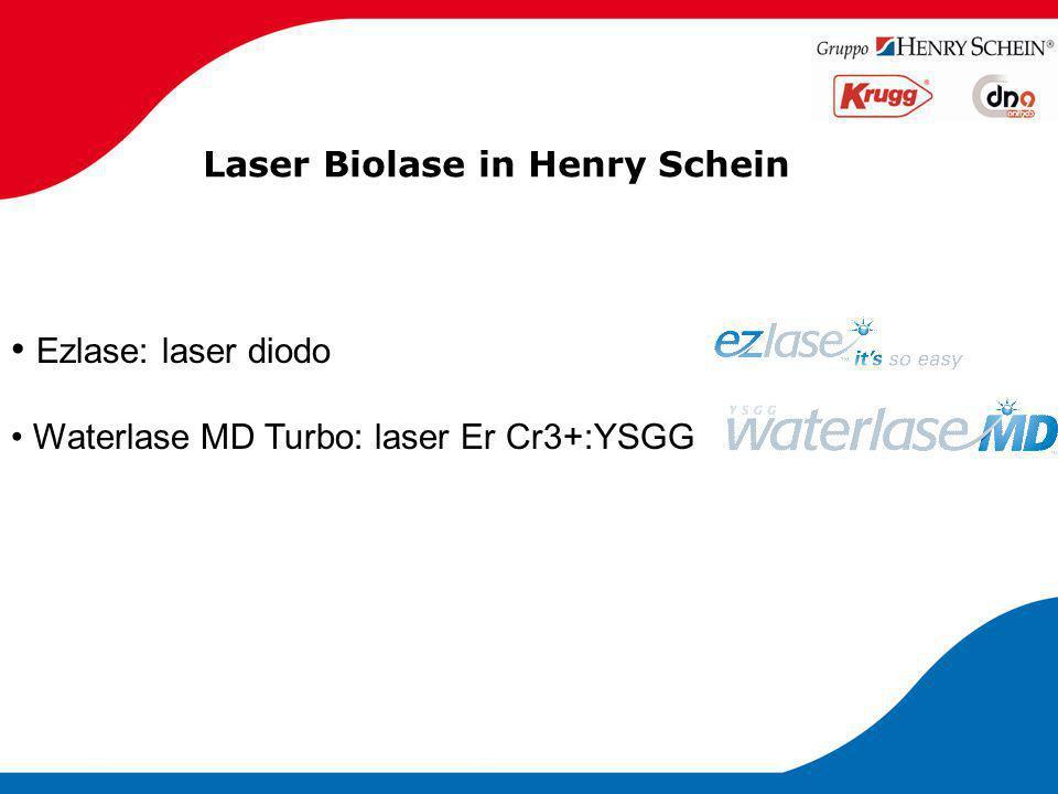 Laser Biolase in Henry Schein Specifiche tecniche: Lunghezza D'onda: 940 nanometri Dimensioni: 8.5x18x6 cm Peso:1 Kg Classificazione del laser: IV (4) Potenza: da 0.25 a 7 W Frequenza: 50/60 Hz Lunghezza dell' impulso: variabile Modalità: Continua e pulsata Lunghezza d' impulso: 0.05ms – 10 sec Intervallo d' impulso: 0.05ms– 10 sec Diametro dei puntali: 200,300,400 micron