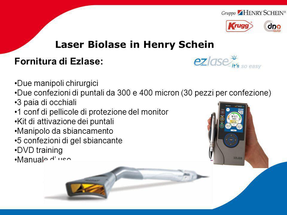 Laser Biolase in Henry Schein Fornitura di Ezlase: Due manipoli chirurgici Due confezioni di puntali da 300 e 400 micron (30 pezzi per confezione) 3 p