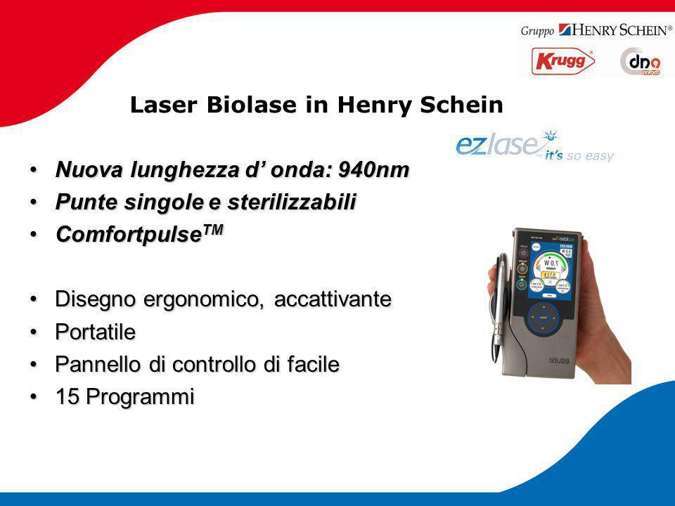 Laser Biolase in Henry Schein Nuova lunghezza d' onda: 940nmNuova lunghezza d' onda: 940nm Punte singole e sterilizzabiliPunte singole e sterilizzabil