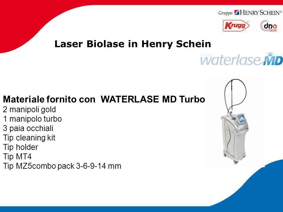 Laser Biolase in Henry Schein Materiale fornito con WATERLASE MD Turbo 2 manipoli gold 1 manipolo turbo 3 paia occhiali Tip cleaning kit Tip holder Ti