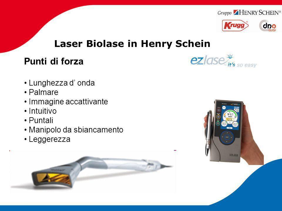 Laser Biolase in Henry Schein Specifiche tecniche WATERLASE MD Turbo : Lunghezza d' onda: Er Cr3+:YSGG, 2780 namometri Potenza: da 0.25 a 8 W Frequenza: da 10 a 50 Hz Energia d'impulso: da 0 a 300mJ Lunghezza impulso:150 e 700ms Necessario collegamento a compressore Dimensioni: 26x48x81 cm Peso: 34kg