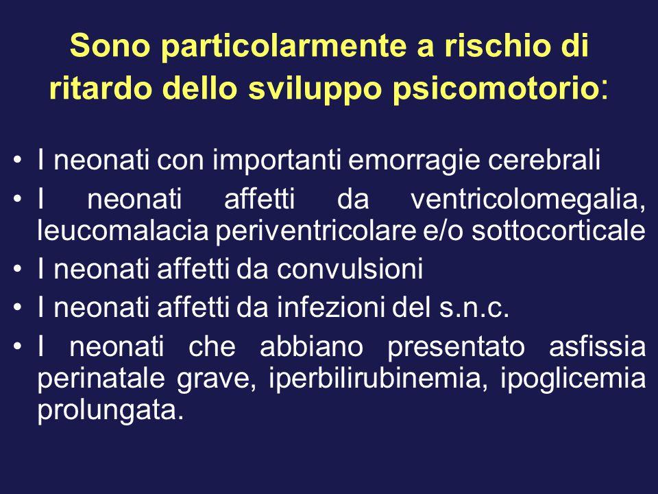Sono particolarmente a rischio di ritardo dello sviluppo psicomotorio : I neonati con importanti emorragie cerebrali I neonati affetti da ventricolome