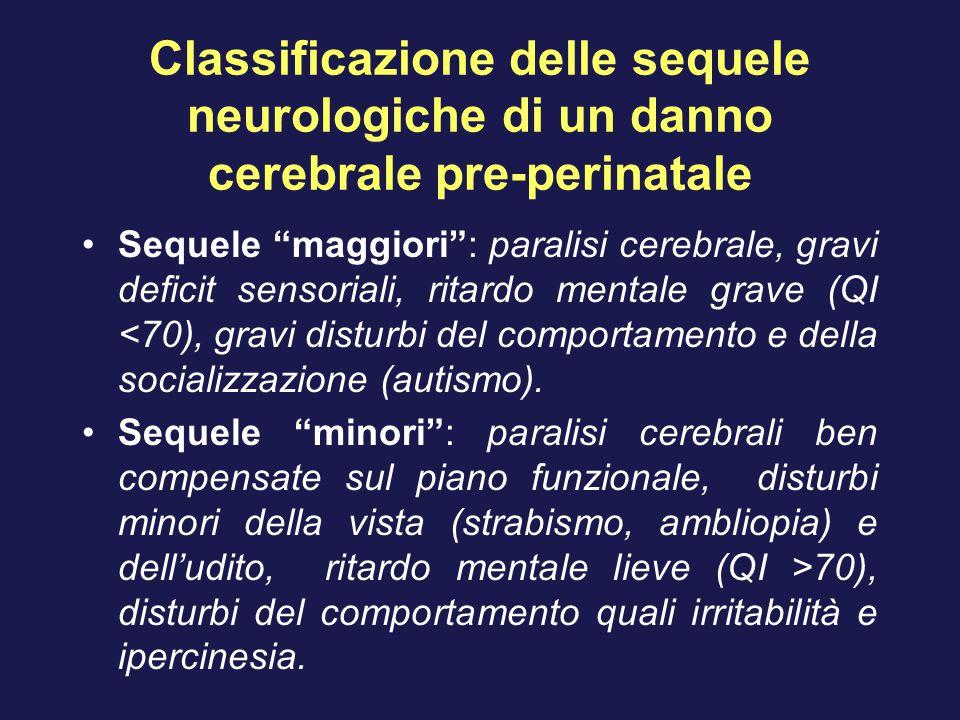 """Classificazione delle sequele neurologiche di un danno cerebrale pre-perinatale Sequele """"maggiori"""": paralisi cerebrale, gravi deficit sensoriali, rita"""