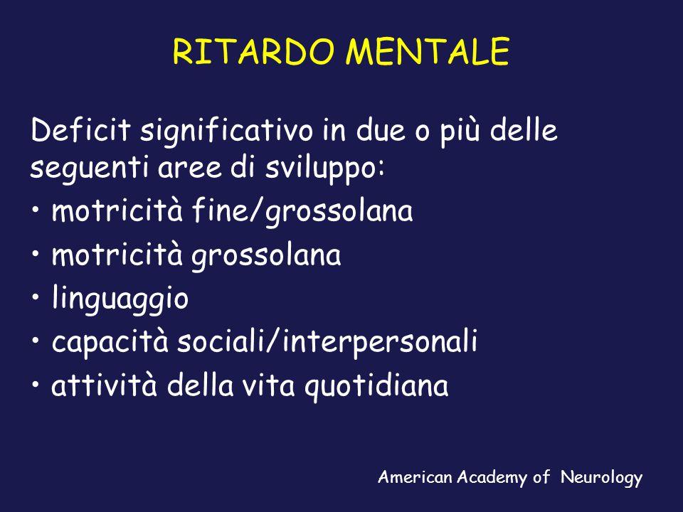 RITARDO MENTALE Caratteristiche diagnostiche (DSM-IV): funzionamento intellettivo significativamente inferiore alla norma.