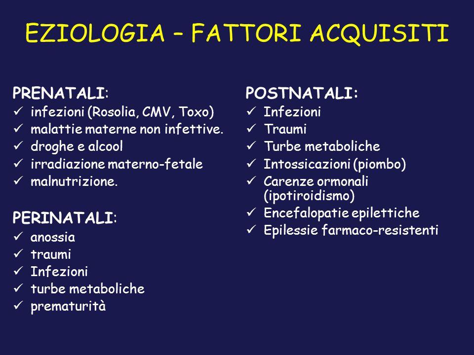 EZIOLOGIA – FATTORI ACQUISITI PRENATALI: infezioni (Rosolia, CMV, Toxo) malattie materne non infettive. droghe e alcool irradiazione materno-fetale ma