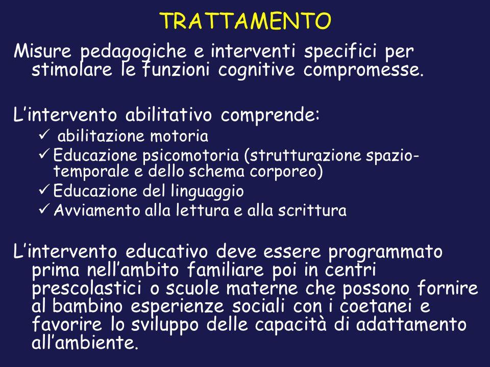 TRATTAMENTO Misure pedagogiche e interventi specifici per stimolare le funzioni cognitive compromesse. L'intervento abilitativo comprende: abilitazion