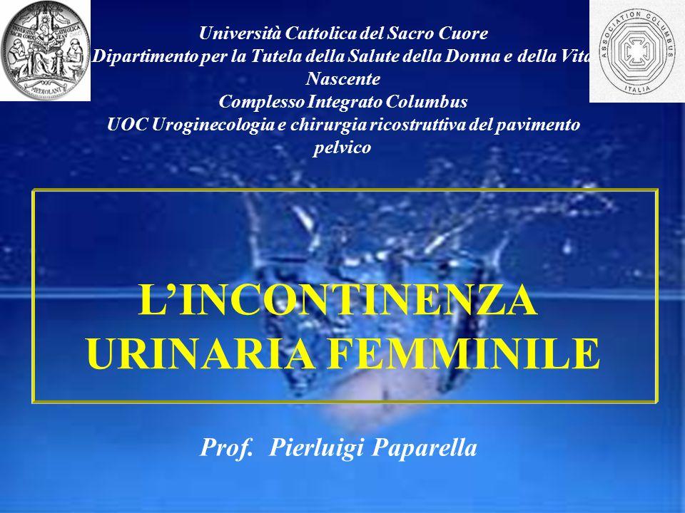 L'INCONTINENZA URINARIA FEMMINILE Università Cattolica del Sacro Cuore Dipartimento per la Tutela della Salute della Donna e della Vita Nascente Compl