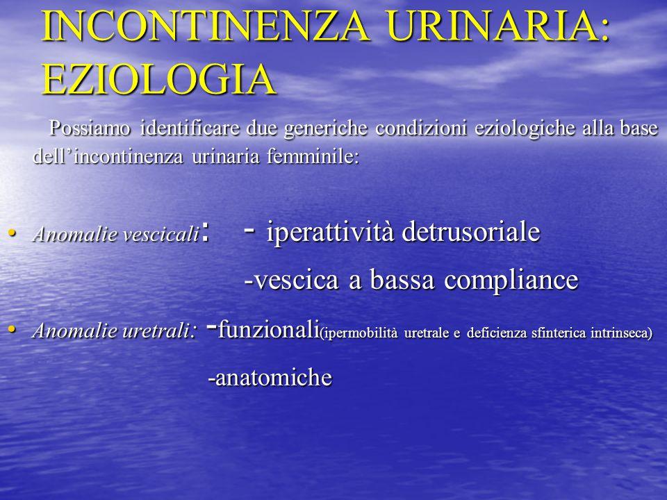 INCONTINENZA URINARIA: EZIOLOGIA Possiamo identificare due generiche condizioni eziologiche alla base dell'incontinenza urinaria femminile: Possiamo i