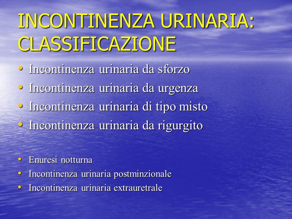 INCONTINENZA URINARIA: CLASSIFICAZIONE Incontinenza urinaria da sforzo Incontinenza urinaria da sforzo Incontinenza urinaria da urgenza Incontinenza u