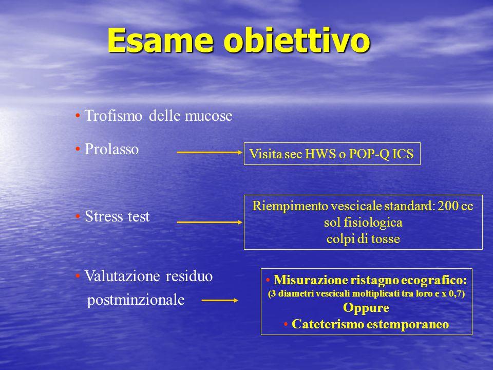 Esame obiettivo Trofismo delle mucose Prolasso Stress test Valutazione residuo postminzionale Riempimento vescicale standard: 200 cc sol fisiologica c