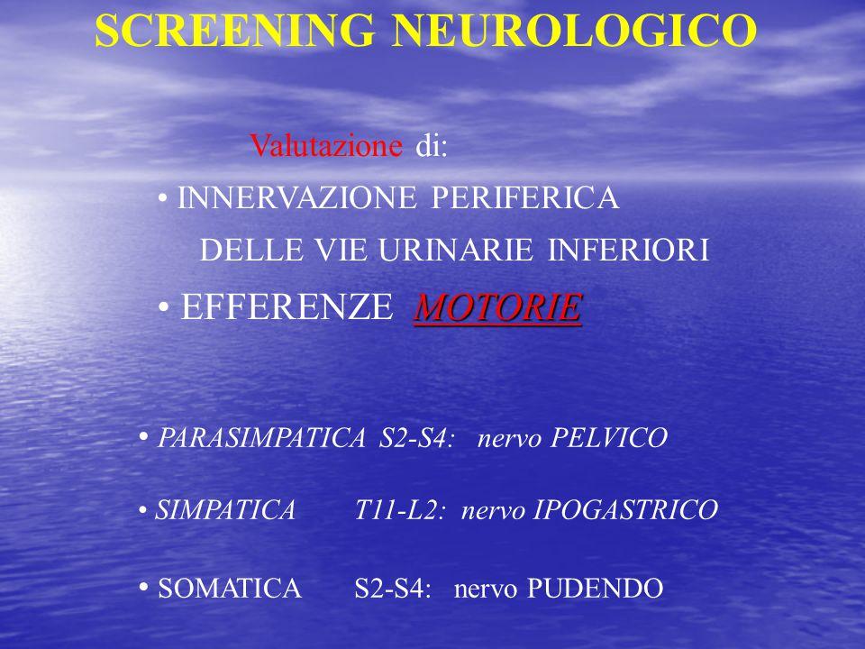 SCREENING NEUROLOGICO Valutazione di: INNERVAZIONE PERIFERICA DELLE VIE URINARIE INFERIORI MOTORIE EFFERENZE MOTORIE PARASIMPATICA S2-S4: nervo PELVIC