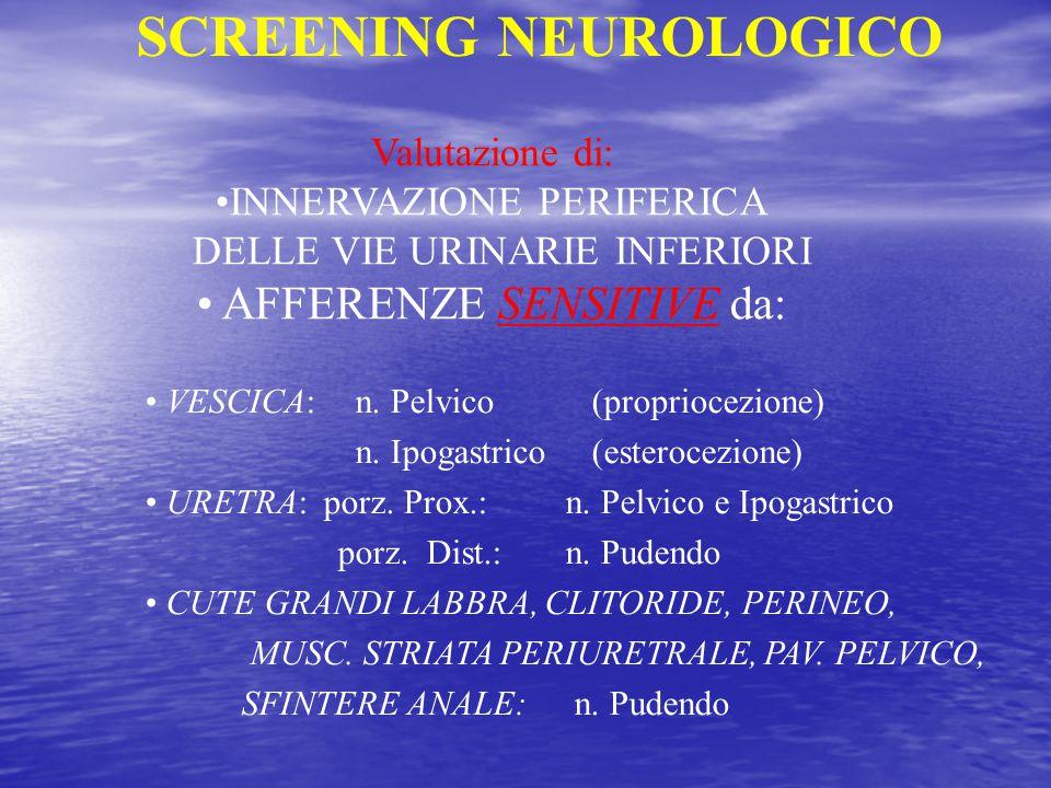 Valutazione di: INNERVAZIONE PERIFERICA DELLE VIE URINARIE INFERIORI AFFERENZE SENSITIVE da: VESCICA:n. Pelvico (propriocezione) n. Ipogastrico (ester