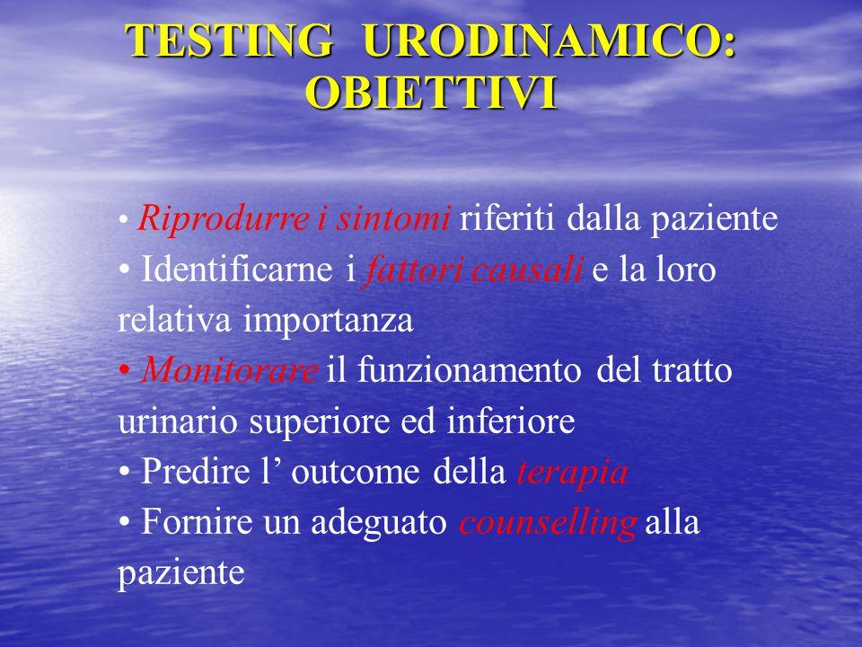 TESTING URODINAMICO: OBIETTIVI Riprodurre i sintomi riferiti dalla paziente Identificarne i fattori causali e la loro relativa importanza Monitorare i