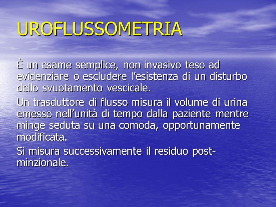 UROFLUSSOMETRIA È un esame semplice, non invasivo teso ad evidenziare o escludere l'esistenza di un disturbo dello svuotamento vescicale. Un trasdutto