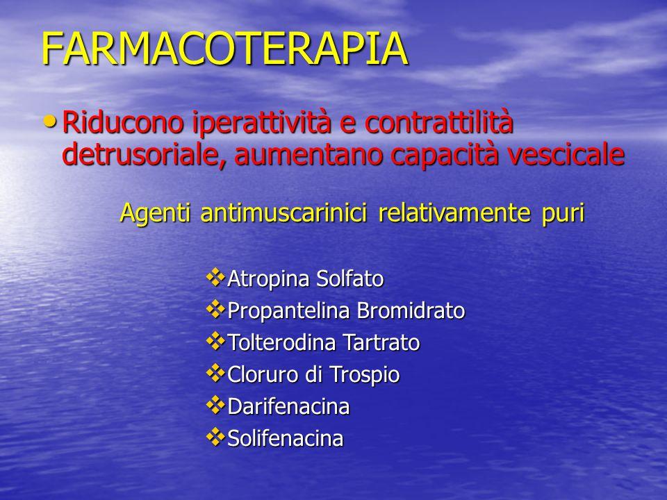 FARMACOTERAPIA Riducono iperattività e contrattilità detrusoriale, aumentano capacità vescicale Riducono iperattività e contrattilità detrusoriale, au
