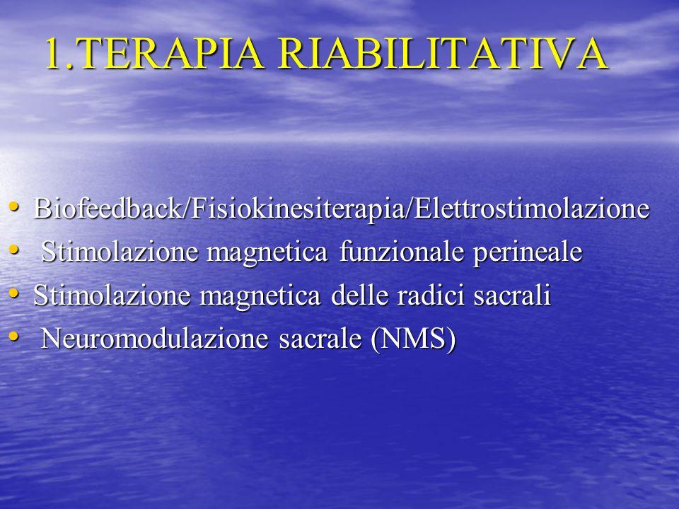 1.TERAPIA RIABILITATIVA Biofeedback/Fisiokinesiterapia/Elettrostimolazione Biofeedback/Fisiokinesiterapia/Elettrostimolazione Stimolazione magnetica f
