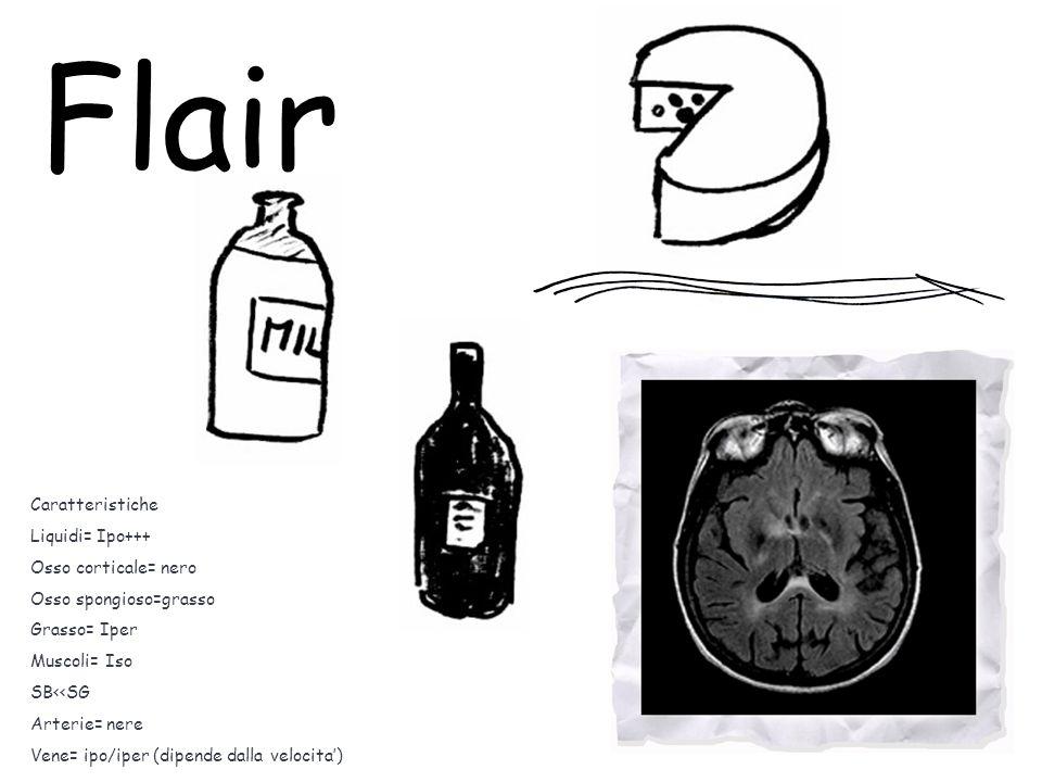 Caratteristiche Liquidi= Ipo+++ Osso corticale= nero Osso spongioso=grasso Grasso= Iper Muscoli= Iso SB<<SG Arterie= nere Vene= ipo/iper (dipende dalla velocita') Flair