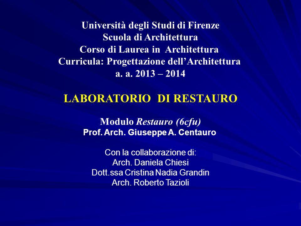 Università degli Studi di Firenze Scuola di Architettura Corso di Laurea in Architettura Curricula: Progettazione dell'Architettura a. a. 2013 – 2014