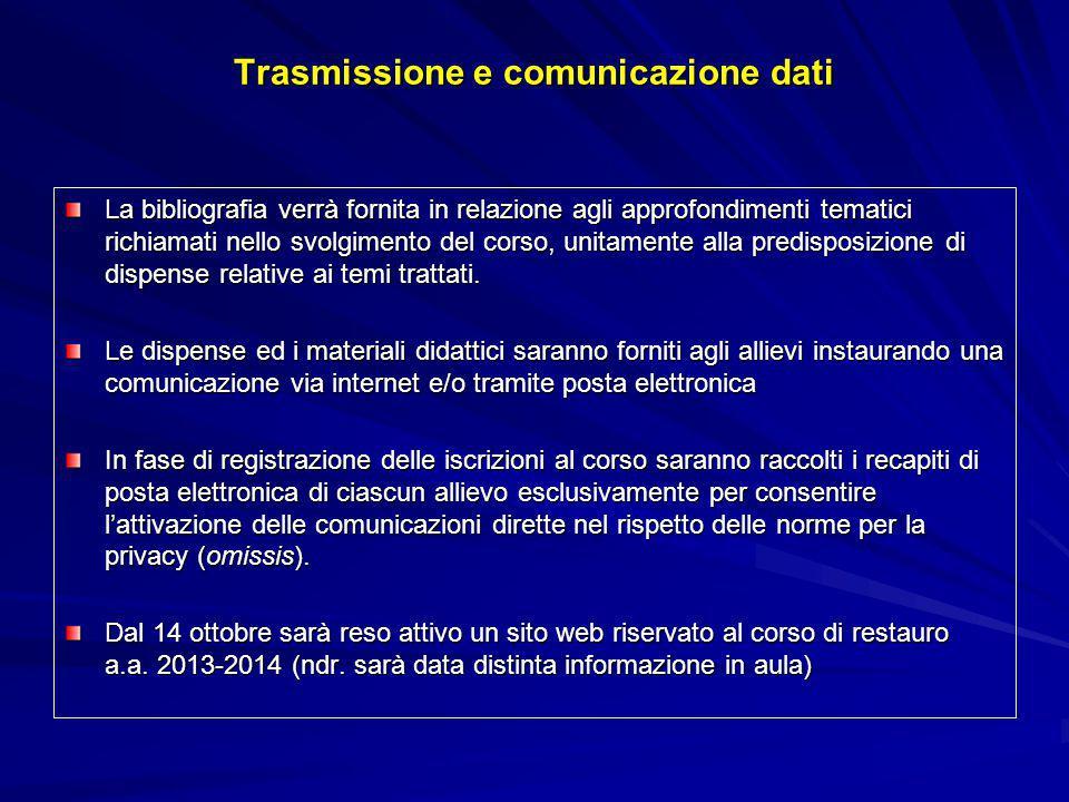 Trasmissione e comunicazione dati La bibliografia verrà fornita in relazione agli approfondimenti tematici richiamati nello svolgimento del corso, uni