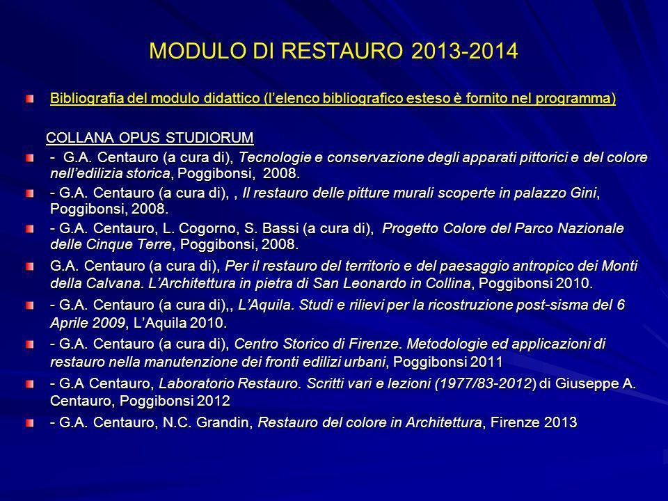 MODULO DI RESTAURO 2013-2014 Bibliografia del modulo didattico (l'elenco bibliografico esteso è fornito nel programma) COLLANA OPUS STUDIORUM COLLANA OPUS STUDIORUM - G.A.