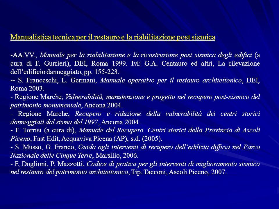 Manualistica tecnica per il restauro e la riabilitazione post sismica -AA.VV., Manuale per la riabilitazione e la ricostruzione post sismica degli edi