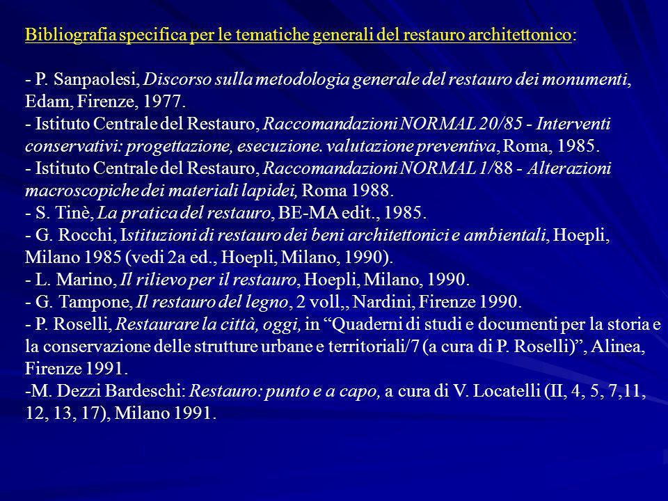 Bibliografia specifica per le tematiche generali del restauro architettonico: - P. Sanpaolesi, Discorso sulla metodologia generale del restauro dei mo