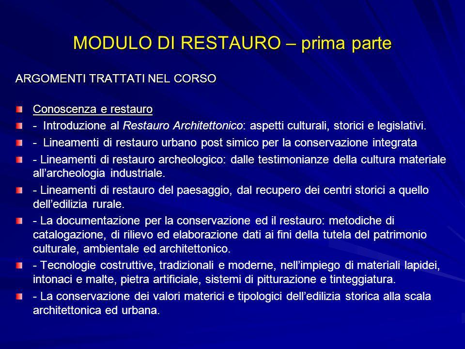 MODULO DI RESTAURO – prima parte ARGOMENTI TRATTATI NEL CORSO Conoscenza e restauro - Introduzione al Restauro Architettonico: aspetti culturali, stor