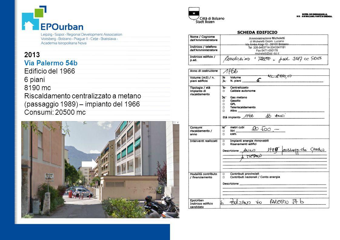 59 OUTPUTS WP3.3 i 20 casi pilota selezionati 2013 Via Palermo 54b Edificio del 1966 6 piani 8190 mc Riscaldamento centralizzato a metano (passaggio 1989) – impianto del 1966 Consumi: 20500 mc
