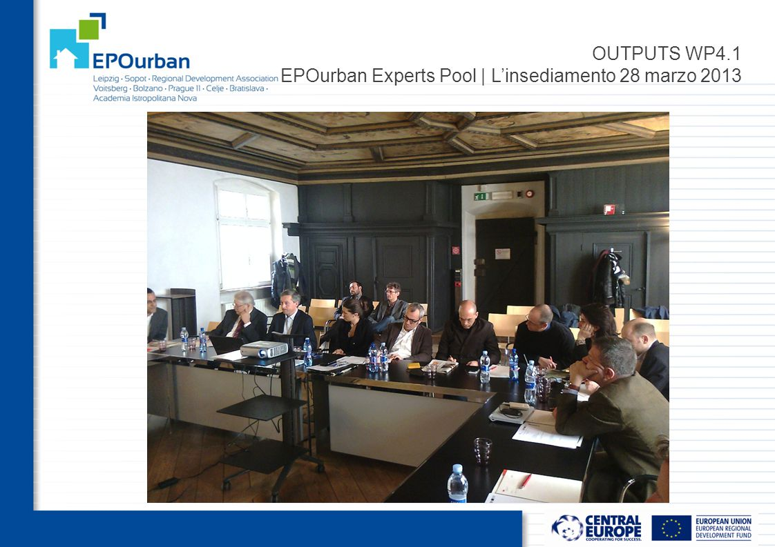 OUTPUTS WP4.1 EPOurban Experts Pool | L'insediamento 28 marzo 2013