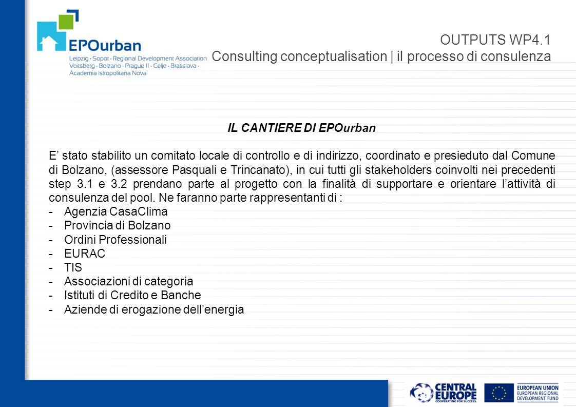 OUTPUTS WP4.1 Consulting conceptualisation | il processo di consulenza IL CANTIERE DI EPOurban E' stato stabilito un comitato locale di controllo e di indirizzo, coordinato e presieduto dal Comune di Bolzano, (assessore Pasquali e Trincanato), in cui tutti gli stakeholders coinvolti nei precedenti step 3.1 e 3.2 prendano parte al progetto con la finalità di supportare e orientare l'attività di consulenza del pool.