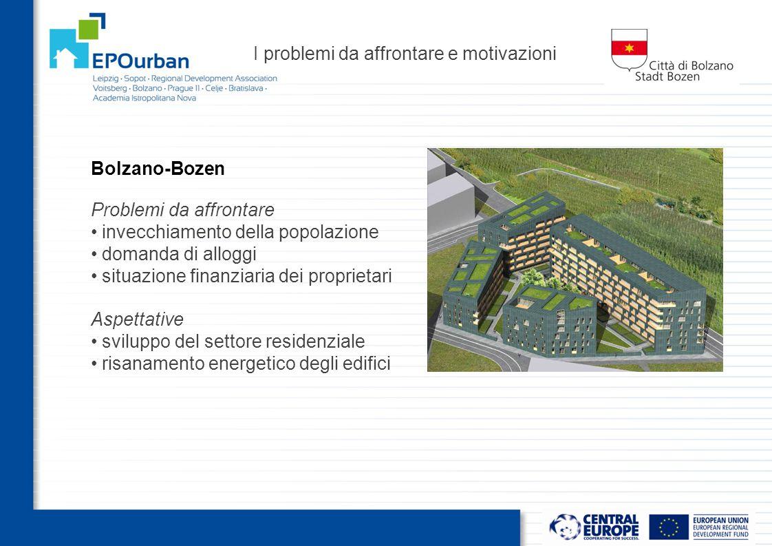 I problemi da affrontare e motivazioni Problemi da affrontare invecchiamento della popolazione domanda di alloggi situazione finanziaria dei proprietari Bolzano-Bozen Aspettative sviluppo del settore residenziale risanamento energetico degli edifici