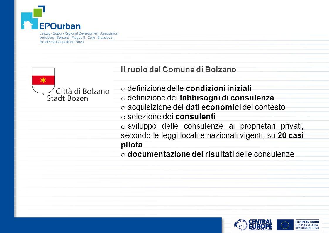 Il ruolo del Comune di Bolzano o definizione delle condizioni iniziali o definizione dei fabbisogni di consulenza o acquisizione dei dati economici del contesto o selezione dei consulenti o sviluppo delle consulenze ai proprietari privati, secondo le leggi locali e nazionali vigenti, su 20 casi pilota o documentazione dei risultati delle consulenze