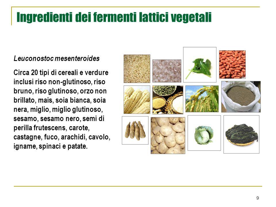 9 Ingredienti dei fermenti lattici vegetali Leuconostoc mesenteroides Circa 20 tipi di cereali e verdure inclusi riso non-glutinoso, riso bruno, riso