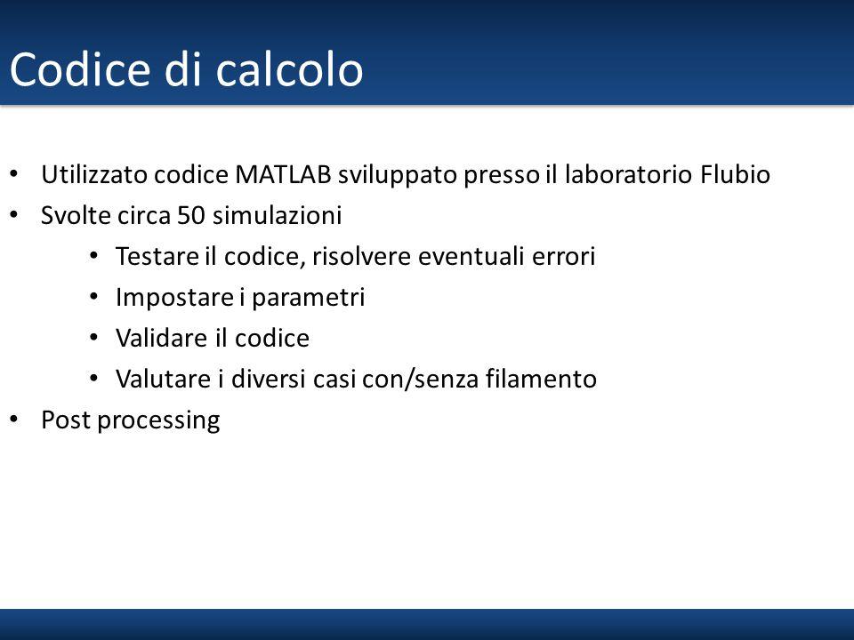 Codice di calcolo Utilizzato codice MATLAB sviluppato presso il laboratorio Flubio Svolte circa 50 simulazioni Testare il codice, risolvere eventuali