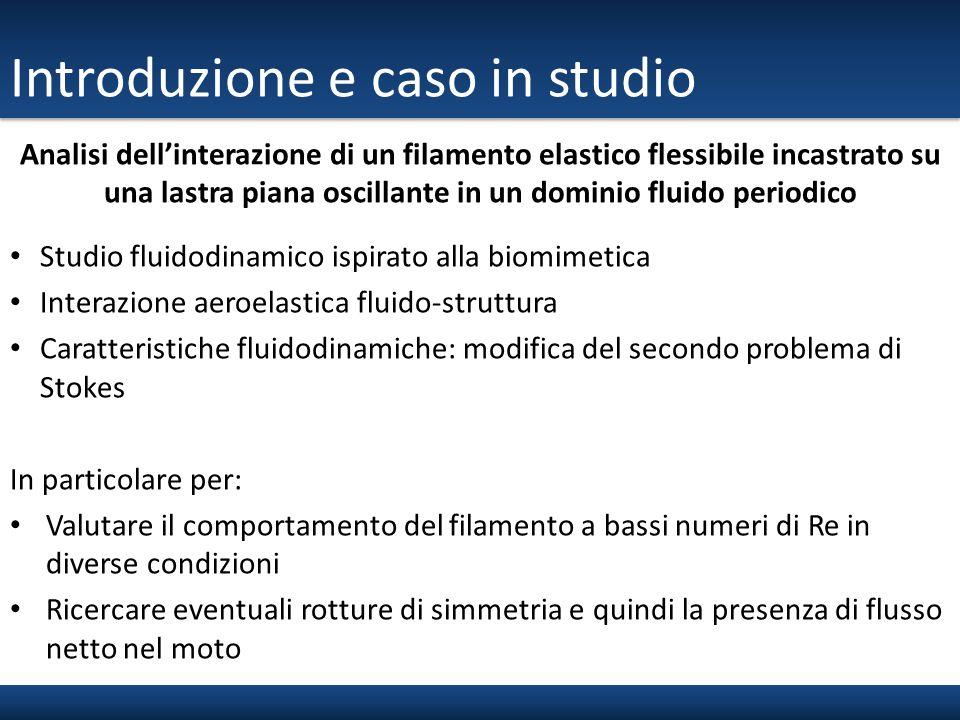 Introduzione e caso in studio Studio fluidodinamico ispirato alla biomimetica Interazione aeroelastica fluido-struttura Caratteristiche fluidodinamich