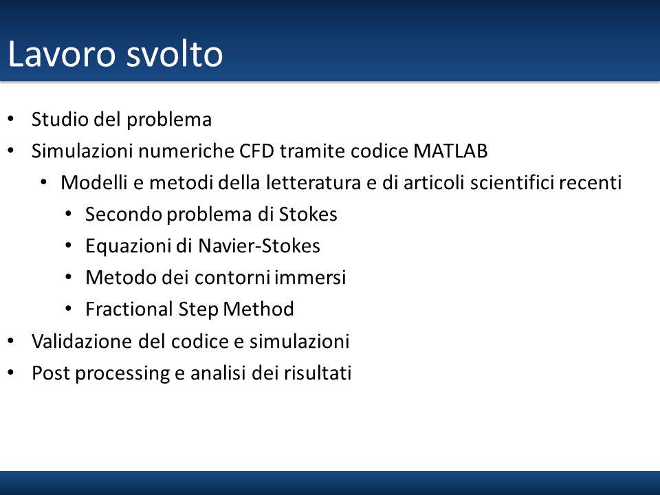 Lavoro svolto Studio del problema Simulazioni numeriche CFD tramite codice MATLAB Modelli e metodi della letteratura e di articoli scientifici recenti