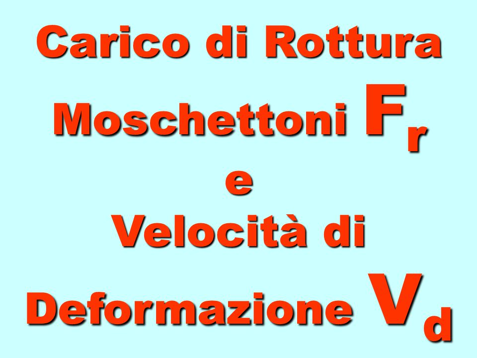F c = l 0 2g v d 2 Il Fattore di Caduta ha un valore nettamente diverso dalla Velocità di Deformazione vista la costante di moltiplicazione l 0 2g Ino