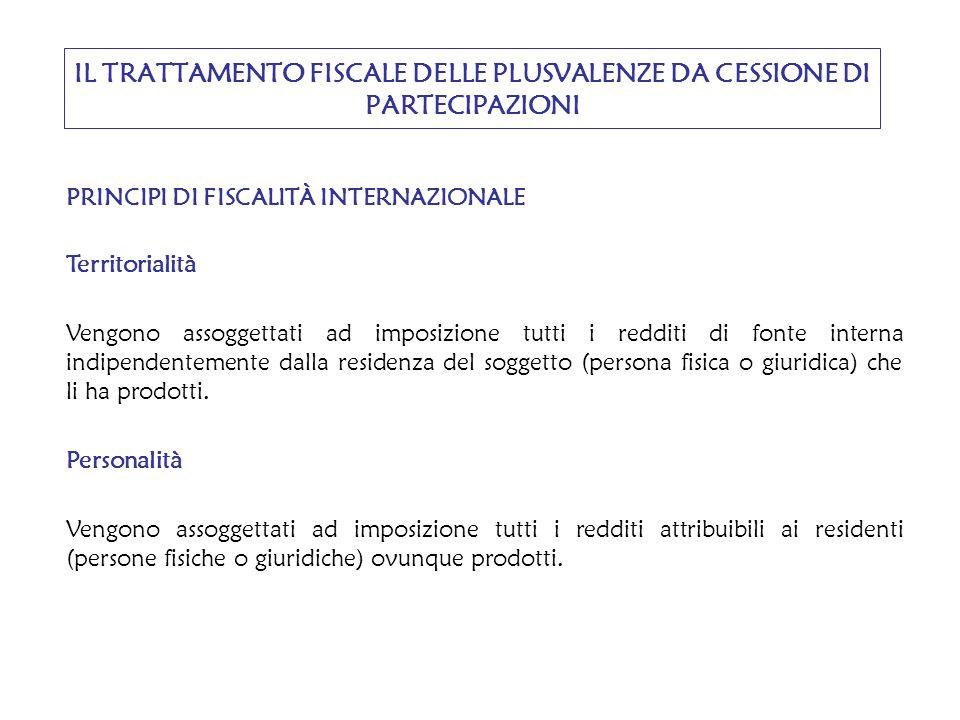 DOPPIA IMPOSIZIONE INTERNAZIONALE Il criterio dell'utile mondiale (c.d.